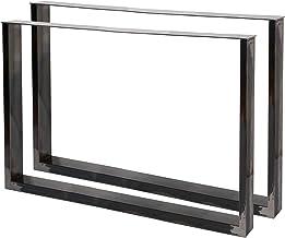 WilTec Industriële vierkante tafelpoten helder vernis 100x72cm voor tafels banken en bureaus
