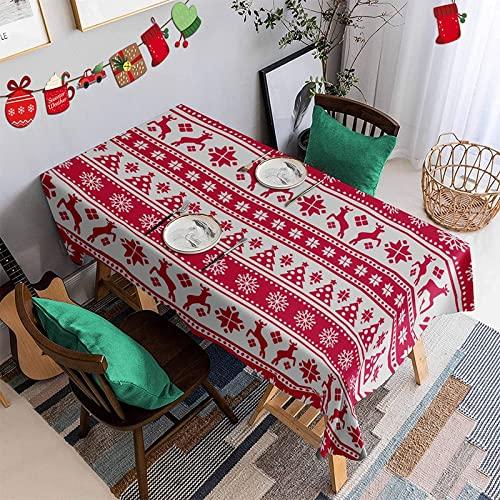 Cubierta de Mesa de decoración navideña, Mantel Rectangular Impermeable, Adecuado para Cocina, Restaurante, Picnic, Fiesta M-21 140x210cm