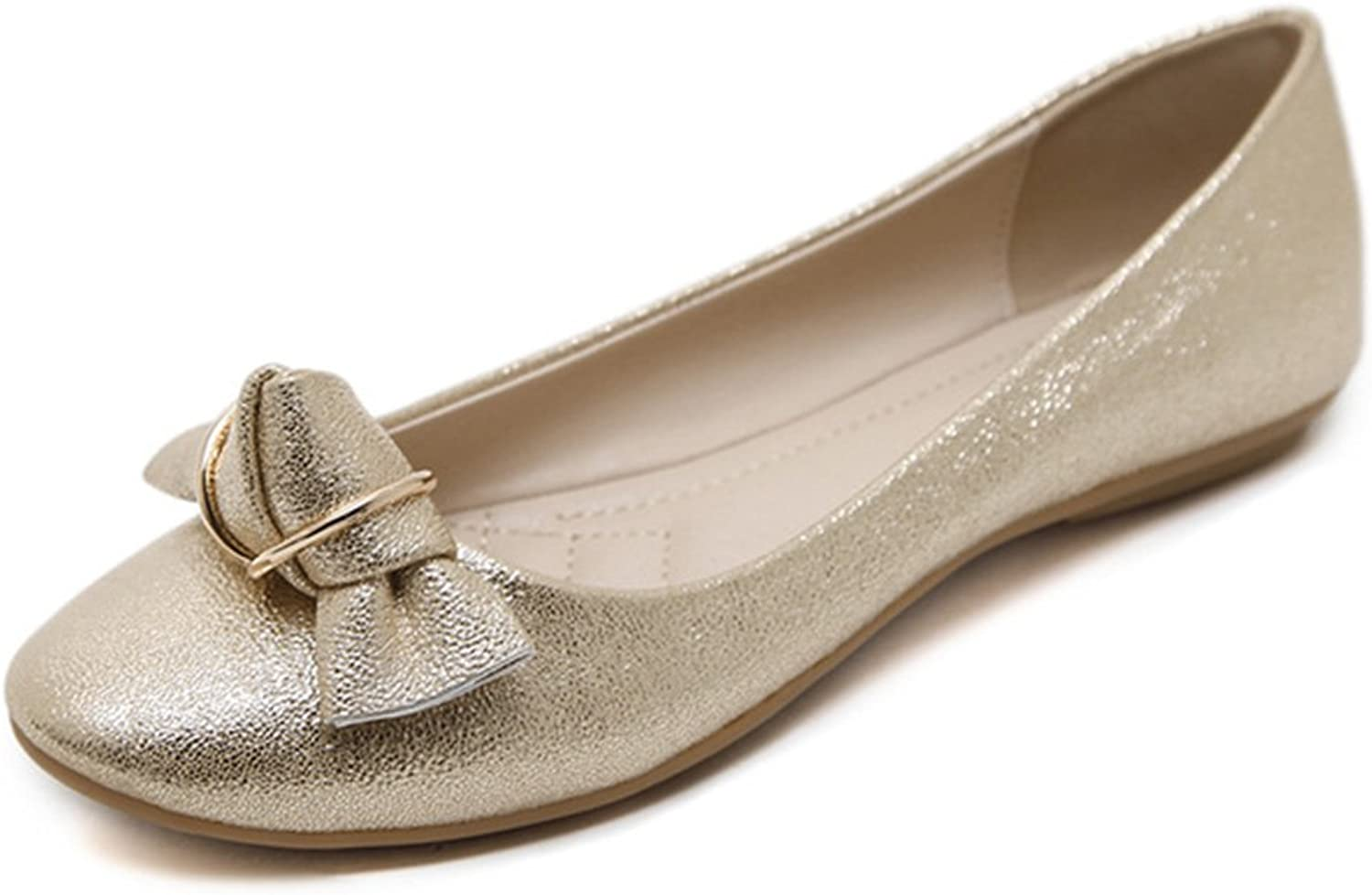 Women gold bluee Ballet Flats, Bowknot Metal Ring Pointed Toe Dressy shoes