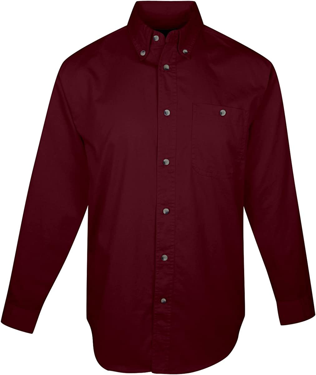 Tri-Mountain Big and Tall 6 oz. Cotton Long Sleeve Twill Shirt Dark Maroon