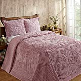 Better Trends Ashton Collection Is Super Soft And Light Weight In Medallion Design 100 Pecent Cotton Tufted Unique Luxurious Machine Washable Tumble Dry, Queen Bedspread, Pink