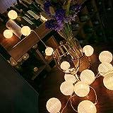 ELINKUME LED Bolas de algodón luces de hadas, 20 LEDs 10,8 pies, Operado con pilas, blanco cálido bola de algodón iluminación de humor para balcón, ventana, fiesta, boda, navidad