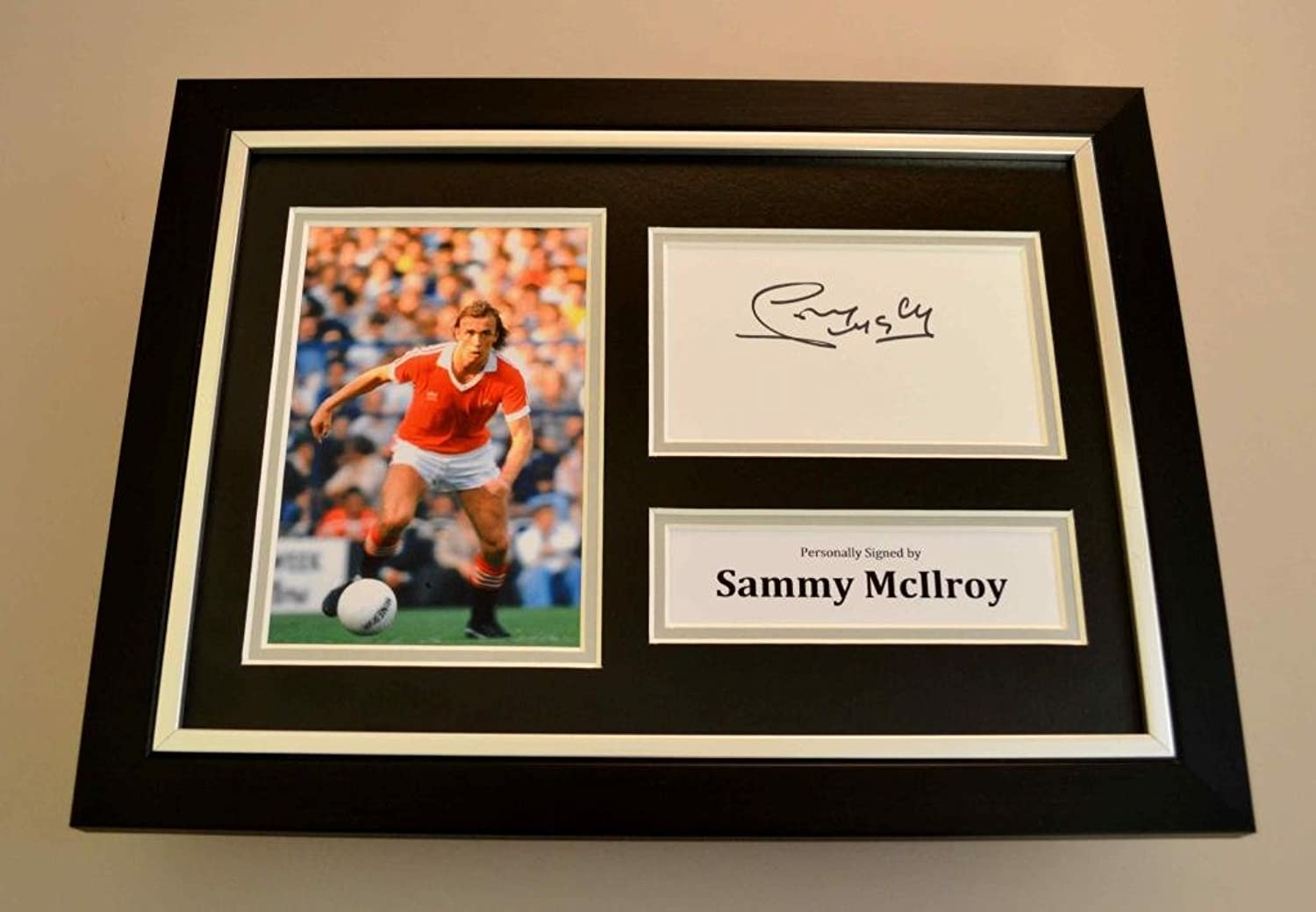 Sammy McIlroy Signed A4 Photo Framed Display Man Utd Autograph Memorabilia + COA