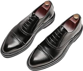 [ランボ] ビジネスシューズ メンズ 黒 通気性 24cm 24.5cm ドレスシューズ 高級レザー ストレートチップ ブラック 柔らかい ハンサム 革靴 営業マン 防滑 痛くない 通勤 カジュアル