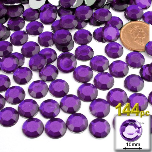 144pc Rhinestones Round 10mm - Purple Amethyst