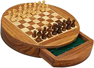 Round Magnetic Chess Set - Handmade European International Chess Set - 9 Inch Folding Wooden Board & Pieces - Classic Stra...