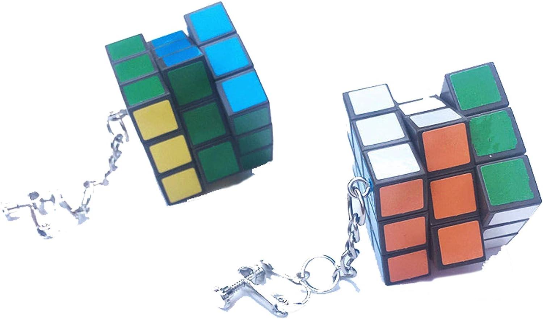 Handmade Creative Cute Real Magic Cube Dangle Earrings Personality Puzzle Cube Play Cartoon Funny Earrrings for Women Girls Punk Jewelry