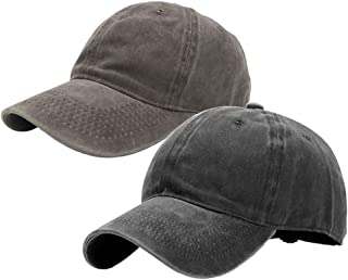 2 Pack Vintage Washed Dyed Cotton Twill Low Profile Adjustable Baseball Cap