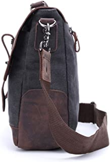 Men's Accessories Office Vintage Style 9.7 Inch Laptop Handbag Casual Business Briefcase Shoulder Messenger Satchel Bag,Black/Blue/Brown/Khaki Outdoor Recreation (Color : Black)