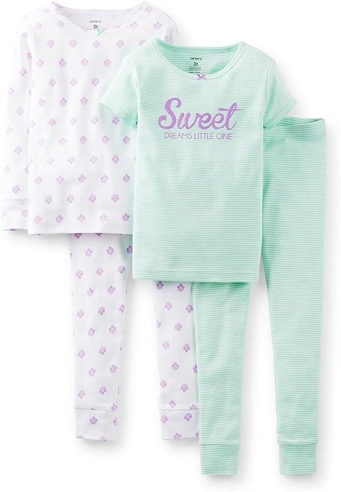 Carter's Girl's 4-Piece Snug Fit Cotton PJ Set (4T, Purple/Mint)
