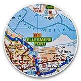 Impresionantes pegatinas de vinilo (juego de 2) 25 cm – Ellesmere Port River Mersey England UK Map Fun Decals para portátiles, tabletas, equipaje, reserva de chatarras, frigoríficos, regalo genial #44954