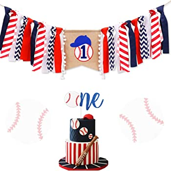 IntService One Birthday Highchair Banner 1 Glitter Cake Topper NO.1 Crown Hat Set for Baby Boys Girls Toddlers First Birthday Party Decorations Supplies 3-in-1 Theme Baseball