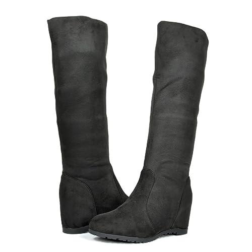 826c0cd21009 DREAM PAIRS BETSIE Women s Fashion Stylish Pull On Casual Hidden Wedge Knee  High Boots