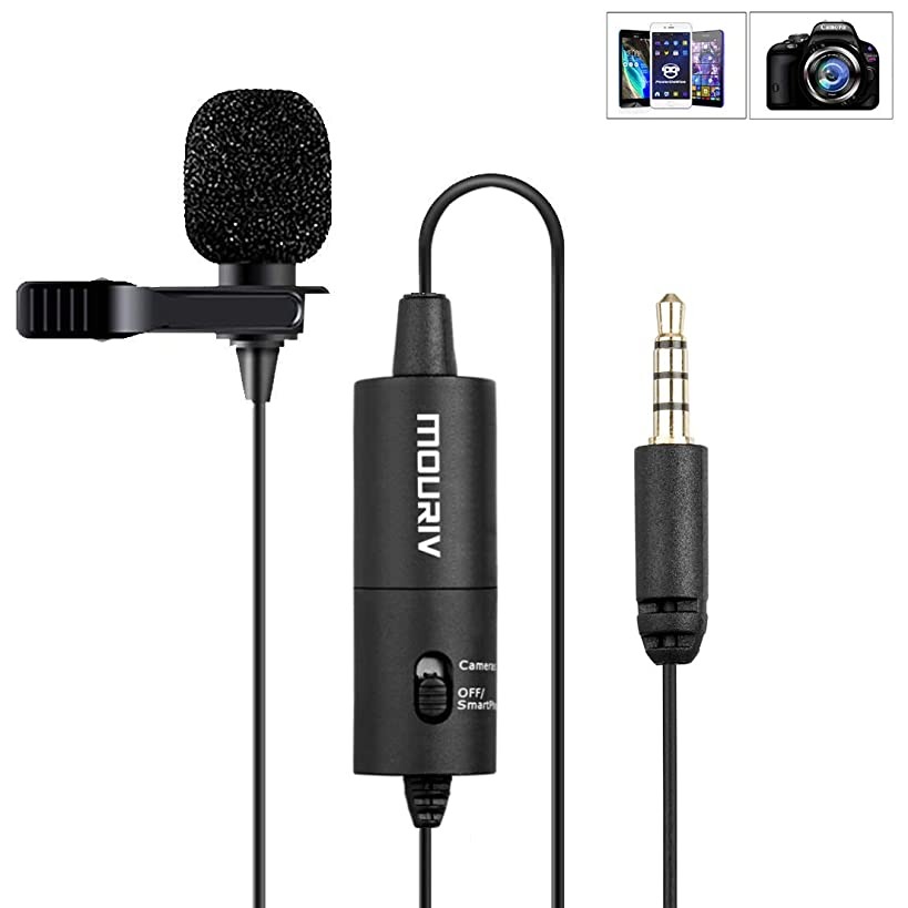 Lavalier Microphone, Mouriv CM201 Hands Free Clip-on Lapel Mic with Omnidirectional Condenser for Podcast, Recording, DSLR,Camera, Smartphone, Sony,PC,Laptop (236 in)