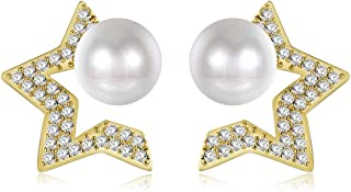 Pearl Stud Gold plated Hoop Earrings Jewelry for Women Girls Gifts