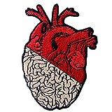 Toppa ricamata da applicare con ferro da stiro o cucitura, tema: Cuore e cervello