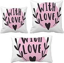 DIYthinker with You Heart Conjunto de almofadas estilo citação rosa para sofá de casa