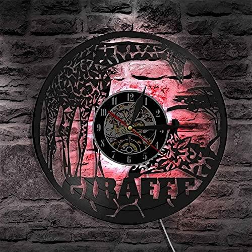 Reloj de pared de vinilo con luz LED de 7 colores, diseño de jirafa y animales de vida silvestre para decoración de pared, estilo vintage, para habitación de niños, reloj decorativo