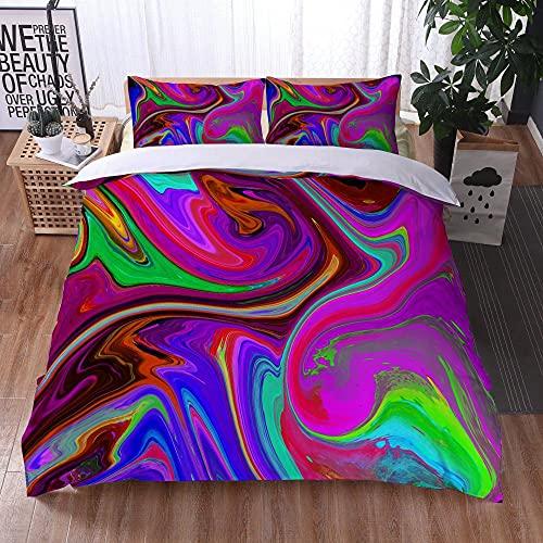 Bedclothes-Blanket Funda nórdica 3D 220x240,Ropa de Cama Juego de Tres Piezas de Almohadas 3D Impresión Digital de mármol colorido-37_203x228cm