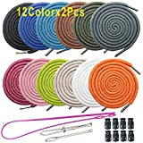 24Pack Replacement Drawstrings Drawcords 8 Pieces Cord Locks for Pants Sweatpants Hoodies Scrubs Jackets Shorts, with 3 Pieces Drawstring Threader Re-Threader Tool 53' Long (12 Color)