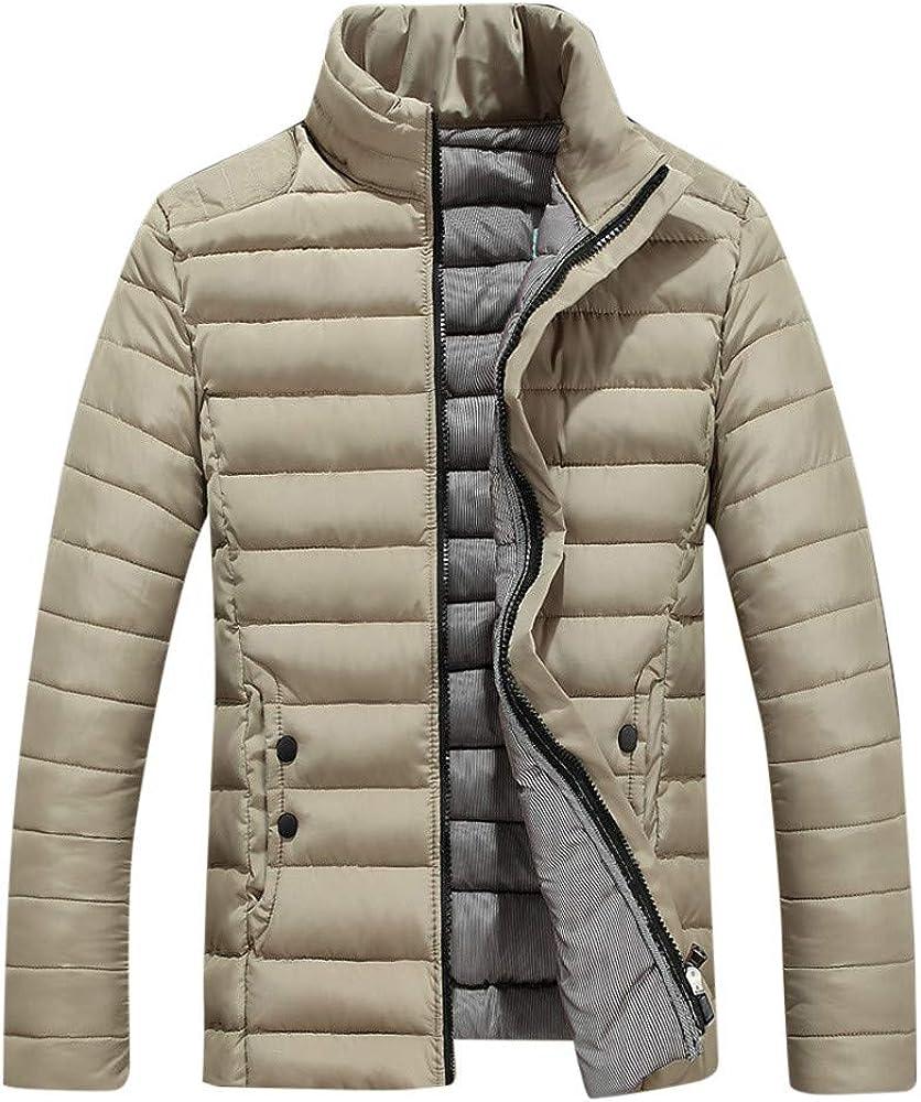 Men Autumn Casual Daily Coats Men's Winter Leisure Zipper Pocket Down Jackets Stand Collar Coat Outwear Tops