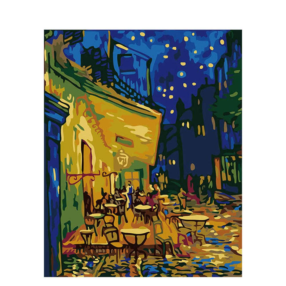 QRTQ Paint By Numbers For Adults and Kids Van Gogh Coffee House DIY Oil Painting Kits Pre-Printed Canvas Art Home…