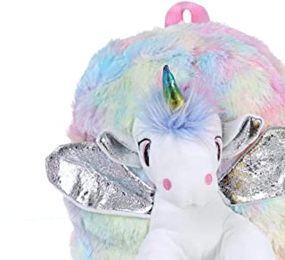 Baby Girl Unicorn Fur Backpack Cute Children Zipper Schoolbag Mini Kid Toy Doll Backpack for Kidergarten New Plush Bag,Silver