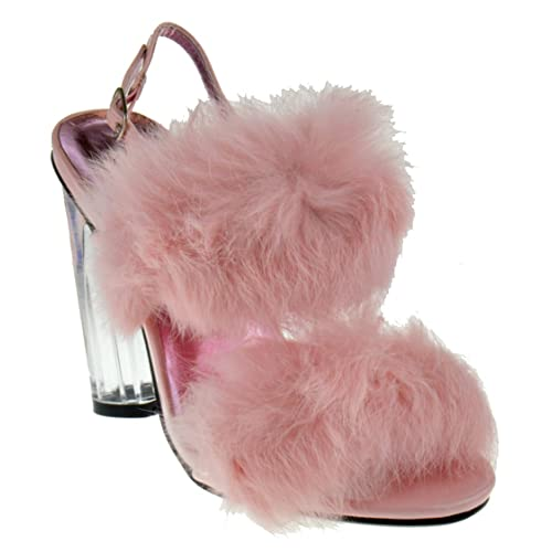 d911eb6af56 Foever Create 88 Womens Clear Chunky Heel Furry Strapped Lucite Sandals