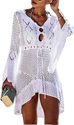 1371c8f653 Asskdan Women's Bathing Suit Cover Up Beach Bikini Lace Crochet Hollow Out  Swimsuit Cover Ups