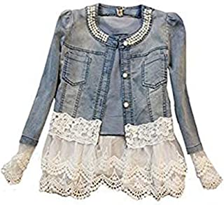 Women's Long Sleeve Button Down Casual Beaded Denim Stitching Lace Jean Jacket