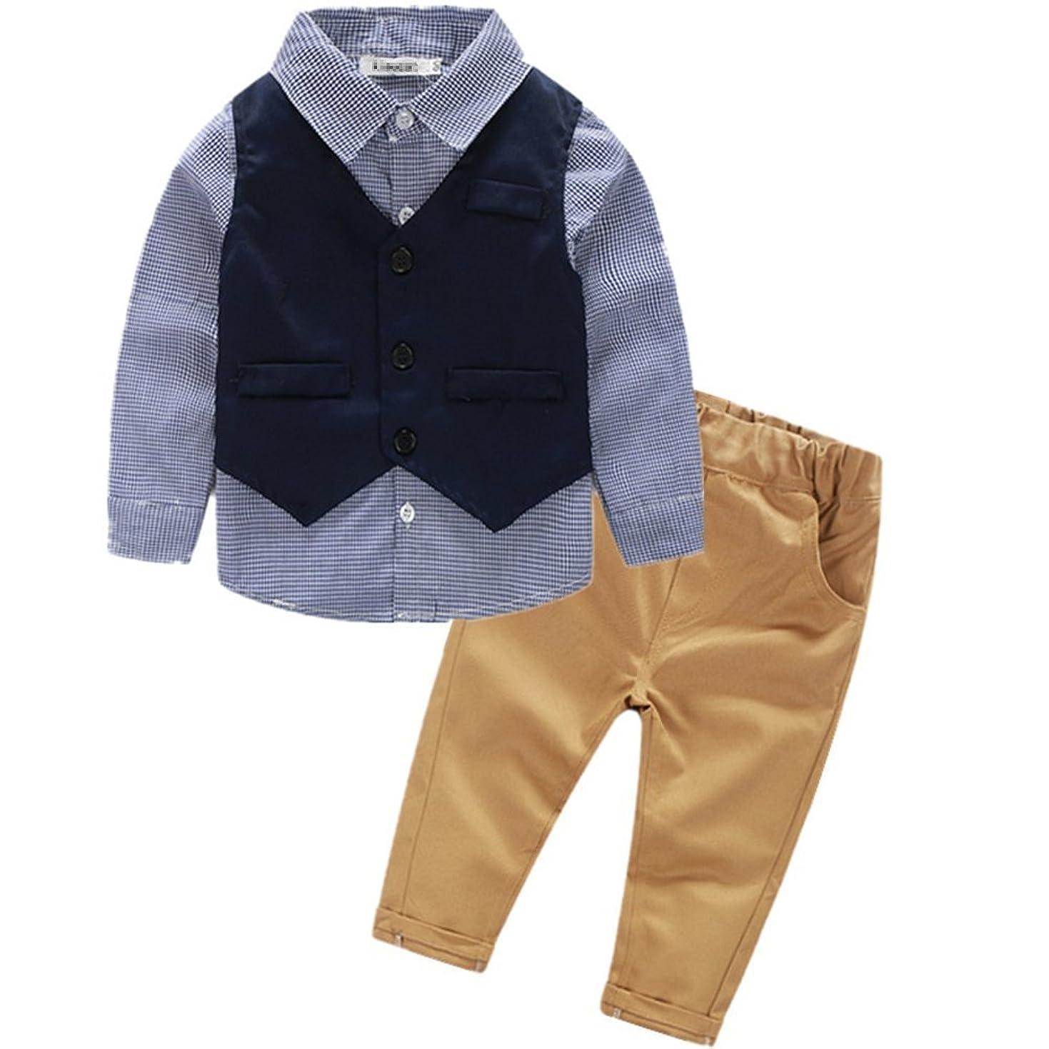 断言する分岐するアセンブリVIYOR ベビー 男の子フォーマル スーツ ベスト付き 発表会 七五三 結婚式 出産祝い 3点セット 90cm