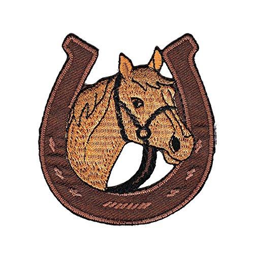 Hufeisen Pferd Aufnäher Bügelbild Aufbügler Iron on Patches Applikation Kleidung