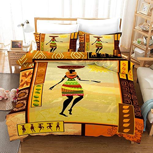 Parure copripiumino africano Re Persone da letto da donna deserto geometrico Home Textiles rosso arancione sole biancheria da letto (Danser, 200 x 200 cm)