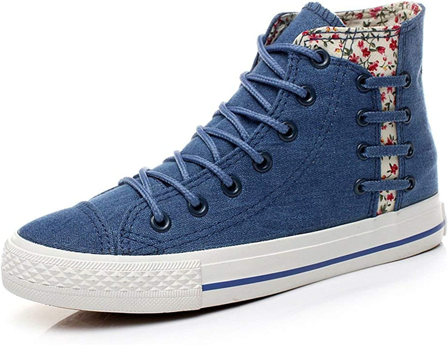 Ghapwe Women's Trendy Floral High Top Denim Sneakers Lace Up Plimsoll Canvas shoes Light bluee 5 M US
