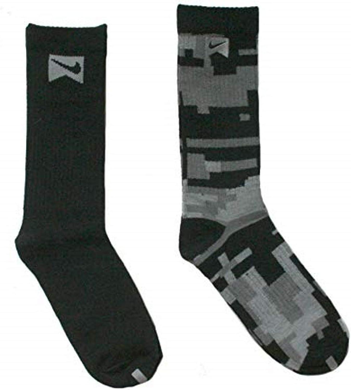Nike 2 Pairs/Pack High Crew Socks, Youth Boys, Black/Grey, 3Y-5Y/7-9 (Sock Size)