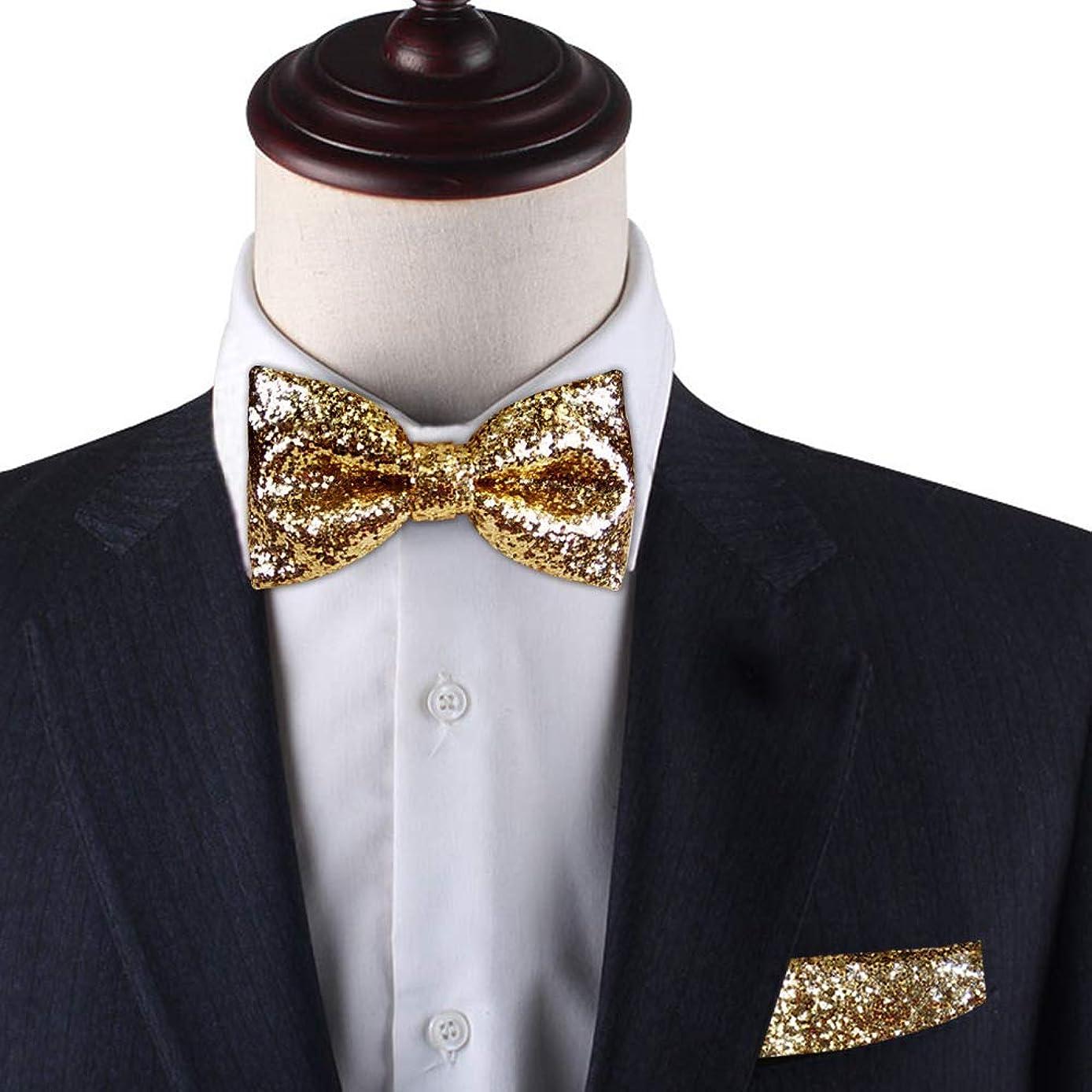 Gold Glitter pre-tied bow tie & Pocket Square set, Gold Glitter bow tie set for men, Dream Up Idea, 100% Handmade