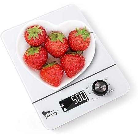 himaly 8kg/1g Balance Cuisine,Balance de Précision,avec Interrupteur Rotatif,Multifonction,Fonction Tare,4 Unités de Pesée,Conversion Liquide,Écran LCD Rétroéclairé Auto-arrêt Blanc