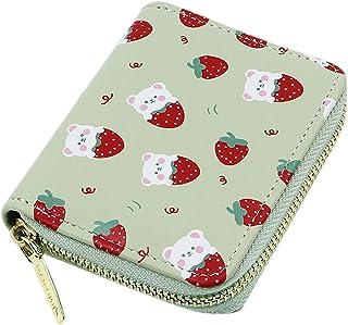AIBEARTY Women Girls Cute Small Strawberry Wallet Zipper Pu Leather Card Case Wallet Short Bifold Coin Purse Clutch