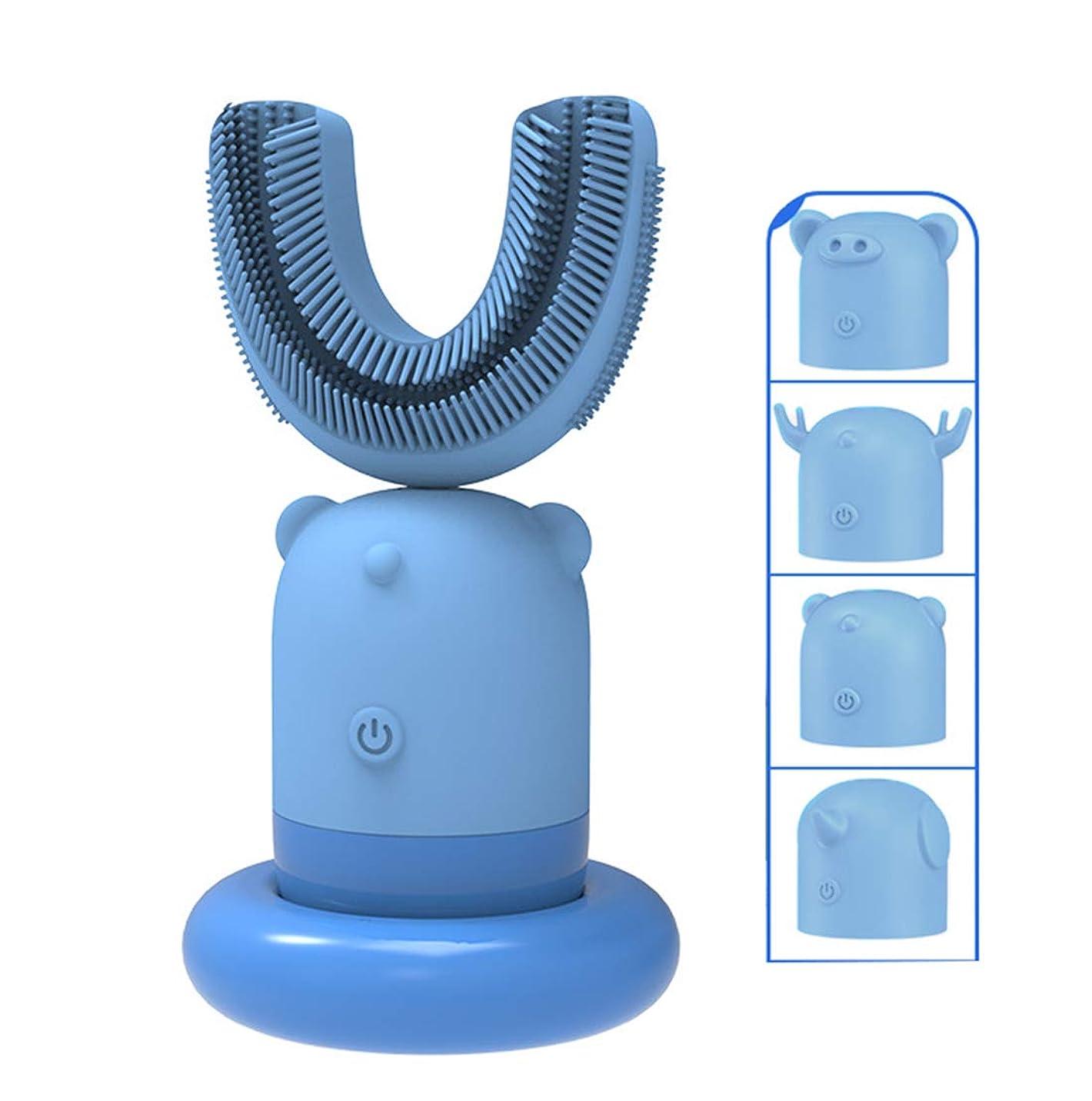 最高衣類ジョージスティーブンソンド 口腔洗浄器 デンタルケア 電動歯ブラシ ナノブルーレイ美歯 ワイヤレス充電 虫歯予防 U型 360°全方位 、4種スキン できる 交換,ブルー,2to6