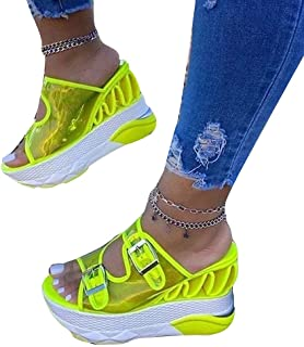 XINSTAR Sandales à talons compensés ultra épaisses pour femme avec fermeture à sangle transparente pour les vacances, le q...