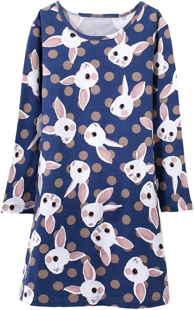 Vopmocld Girls' Long Sleeve Nightgowns Cute Bunny Patterns Sleepwear Winter Nighty 3-14 Years