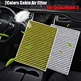For Tesla Model S 2012-2020 Cabin Air Filter With Activated Carbon 2Colors (Color : White)