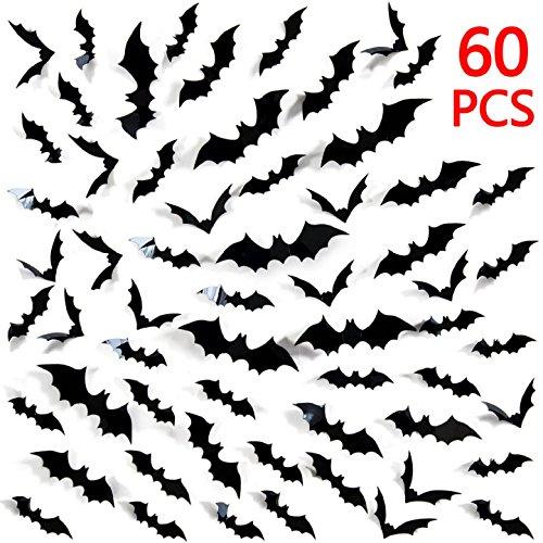 Heekpek 60 Pièces 3D Halloween Chauves-Souris Autocollants Accessoires Kit, Fournitures de Fête de Halloween pour Décoration Murale et Fenêtre de Maison