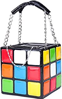 Leather Shoulder Bag Women's Novel Colorful Magic Rubik's Cube PU Totes Handbag