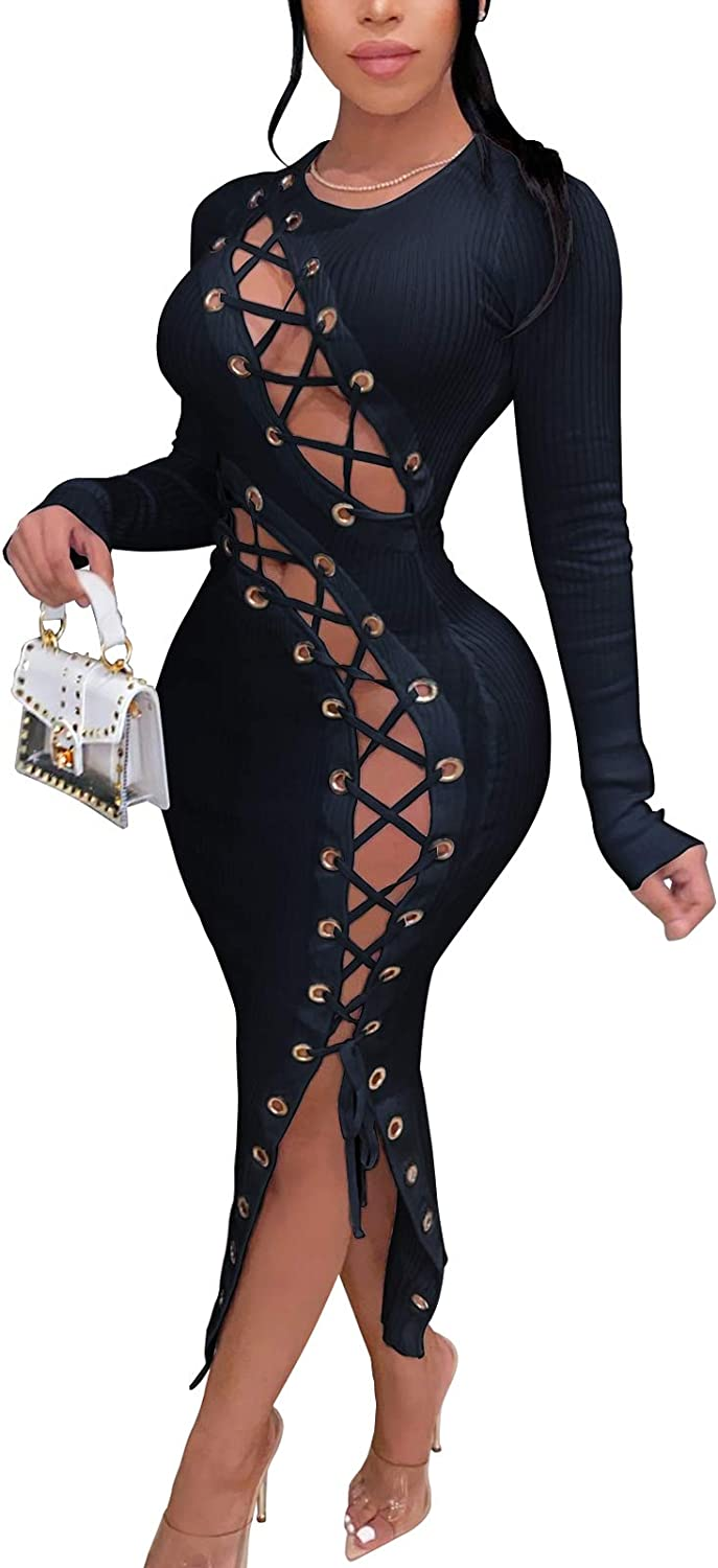 Sexy Club Dress for Women - Stretchy Bandage Lace Up Party Night Out MIdi Dresses