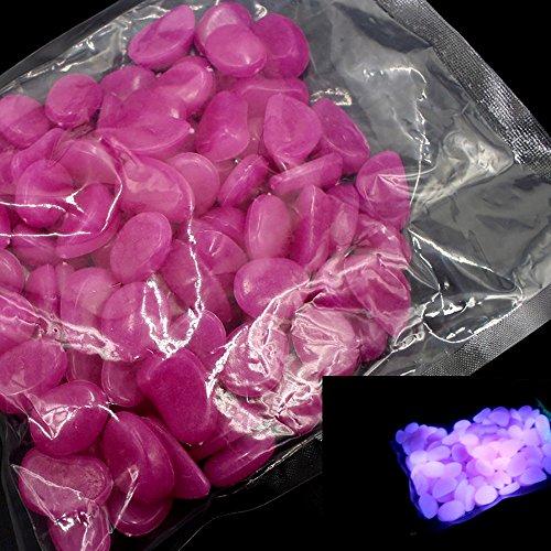 Berrose-100 stück Glühen im dunklen Stein Leuchtendes Meer Aquarium Dekoration-Glühen in den dunklen Steinen Kieselstein für Aquarien Aquarium Garten