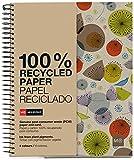 MIQUELRIUS - Cuaderno Notebook 100% Reciclado - 4 franjas de color, A4, 120 Hojas cuadriculadas 5mm, Papel 80 g, 4 Taladros, Cubierta de Cartón Reciclado, Diseño Ecobirds