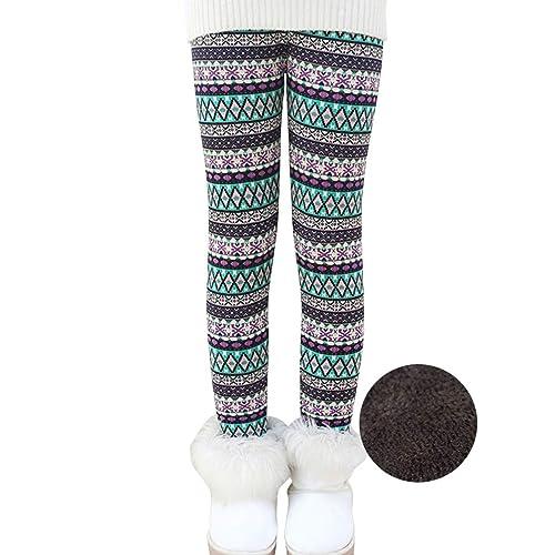 53d2583e2c7a0 Reciy Girls Winter Thick Warm Long Pants Printing Fleece Lined Leggings