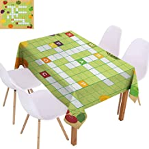 Polyester Tablecloth Word Search Puzzle Vivid Graphic Summer Fruits with Educational Crossword Game for Kids Table Decoration W54 xL84 Multicolor