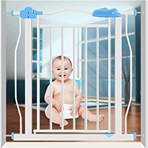 HONGNA Expandable Infant Child Door Fence Stair Barrier Rod Baby Isolation Door Free Punch Self Closing  Color High77cm  Size 107-117cm